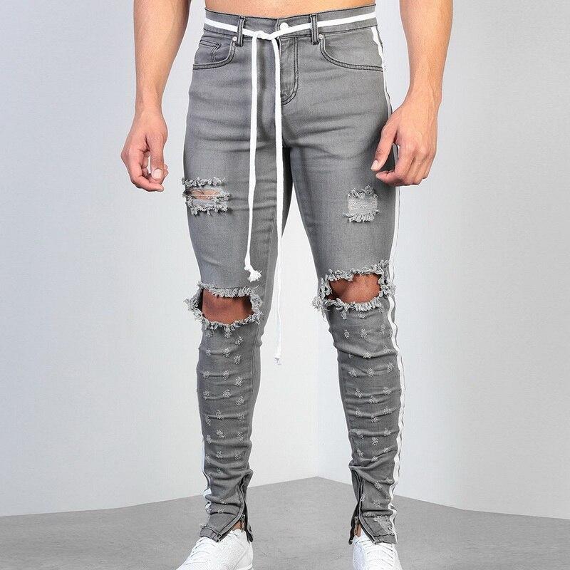 MoneRffi 2019 New Fashion Men Holes Jeans European High Street Motorcycle Biker Jeans Men Hip Hop Ripped Slim Jeans pants(China)
