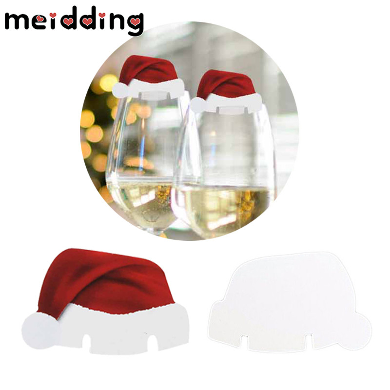 Merry Christmas Santa Claus Hat Wine Glass Caps Christmas Holiday Decoration Xmas New Year Party Supplies Christmas Hats Christmas