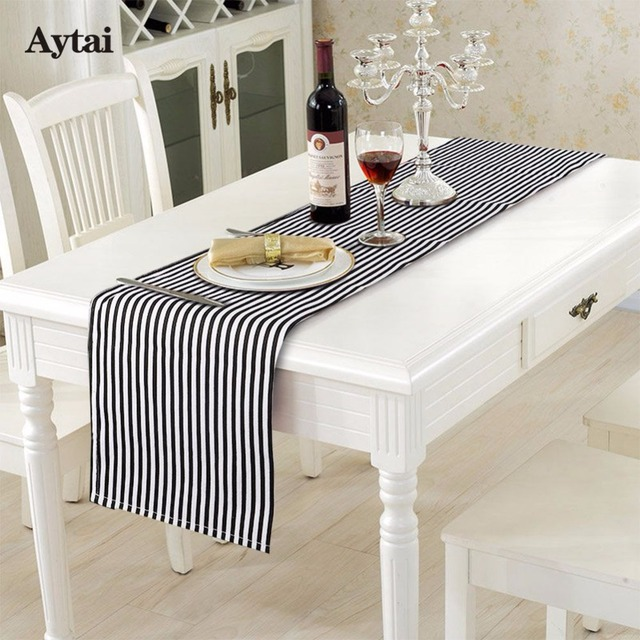 Aytai 35x182cm Cotton Linen Black And White Striped Table Runner
