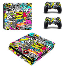 Graffiti crescendo ps4 magro adesivo de pele decalque para sony ps4 playstation 4 magro console e 2 controladores ps4 fino adesivo