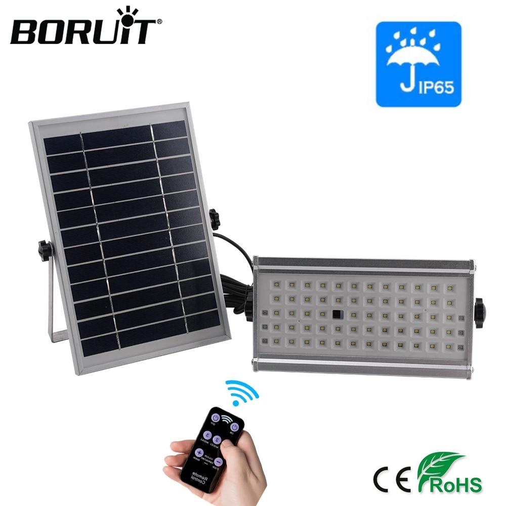 BORUiT 65LED Outdoor Solar Light 1500lm Motion Sensor Solar Spotlight Remote IP65 Waterproof Wall Lamp Home