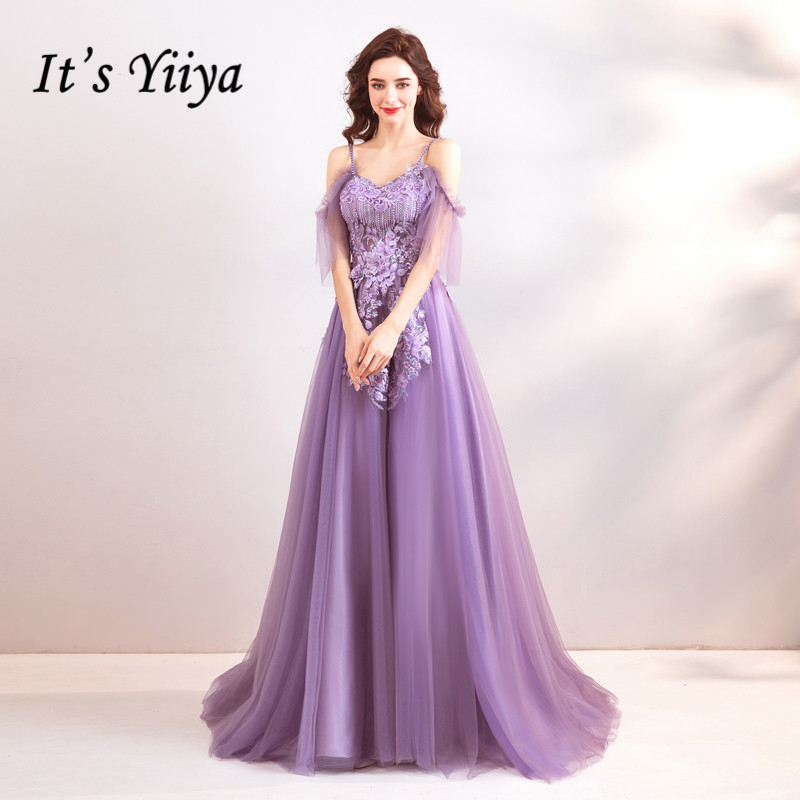 It's YiiYa Purple Evening Dress Strapless A line Tulle Party Evening Dresses Sex Floor length Short Sleeves Lace up LX807