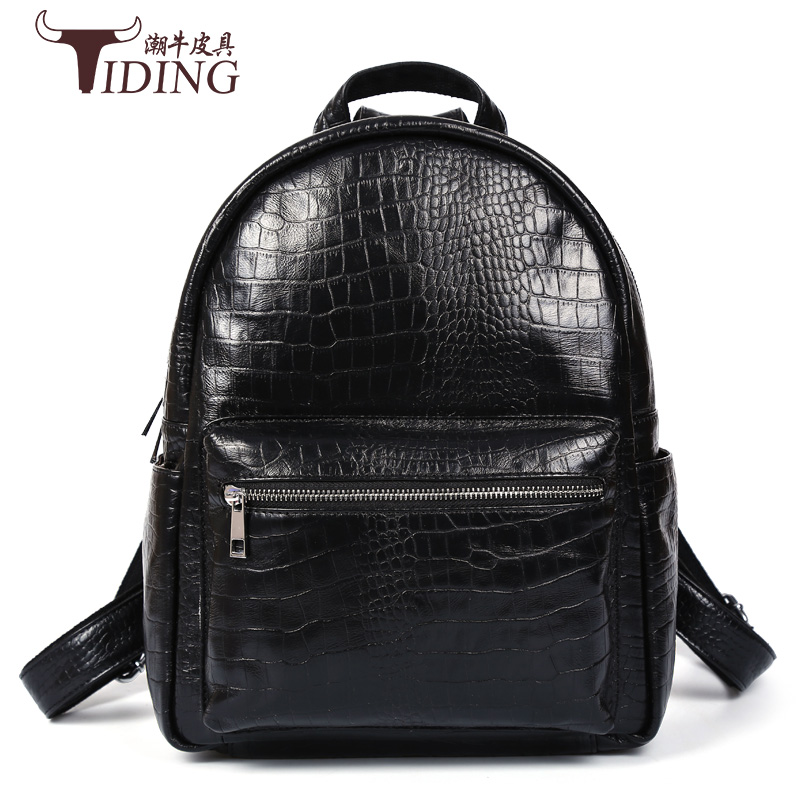 men backpack genuine leather 2017 new fashion brand black vintage cow leather plaid man backpack small school travel bags cow leather man backpack 100