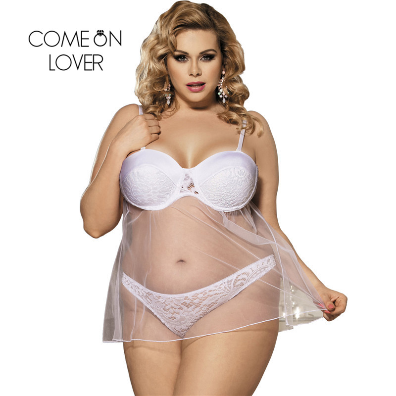 Comeonlover Lenceria Sexy Talla Grande Transparent 5XL Plus Size Babydoll Lingerie Porno Lenceria Erotica Mujer Sexi RI80286