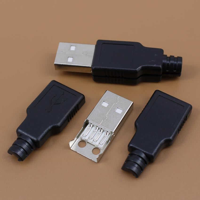 1 PCS DIY USB Female Type A 4Pin 4P three Pieces Assembly Connector Plug Socket