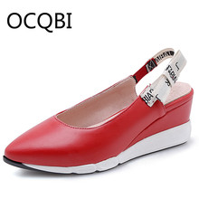 цена на Womens Wedge Loafers Platform Casual Shoes Pointed Closed Toe Wedge Sandals Slingback Red Black Sandals Size 33 -40