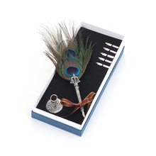 Dip Water Feather Fountain Pen Office Pen Beautiful Vintage Metal Feather Pen Personality Gift Set Birthday Gift Box Bib 0.5mm dip water feather fountain pen office pen beautiful vintage metal feather pen personality gift set birthday gift box bib 0 5mm