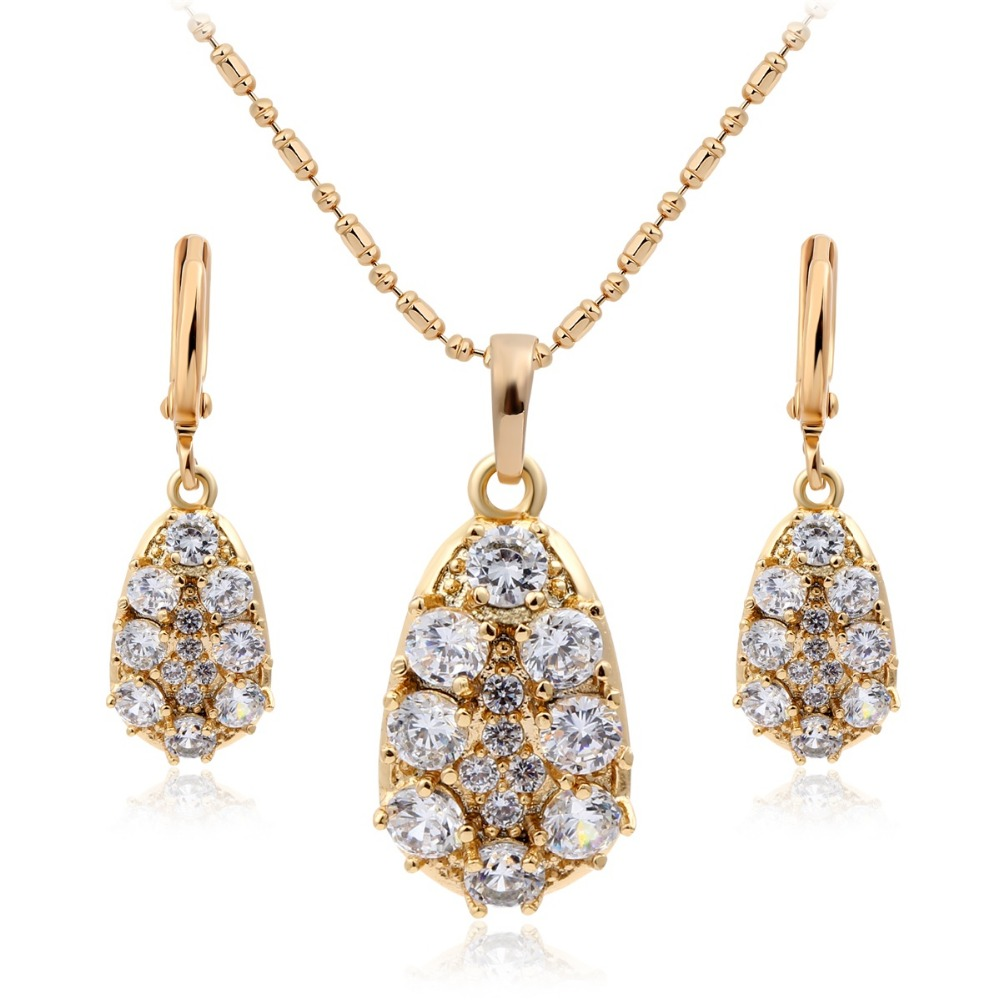 Crystals Cluster Big Cz Teardrop Womens Jewelry Sets 18k White Gold Plated Aaa Jewelry & Watches