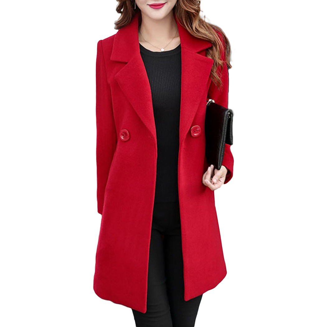 Korean Women Wool   Trench   Coat Outwear 2018 Autumn Winter Warm Woolen Long Coats Windbreaker Fashion Ladies Solid Slim Overcoat