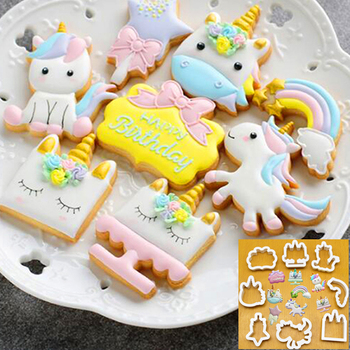 8Pcs/Set DIY Cute Cartoon Unicorn Horse Shape Fondant Cake Cookie Cutter Mold Biscuit Decorating Moulds Kitchen Baking Tools