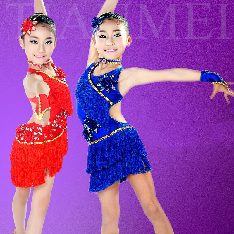 New Child Professional Latin Dance Dress For Girls Ballroom Dancing Dresses Kids Competition Fringe Salsatassel Dance Costumes