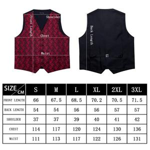 Image 4 - Designer Mens Classic Black Paisley Jacquard Folral Silk Waistcoat Vests Handkerchief Tie Vest Suit Pocket Square Set Barry.Wang