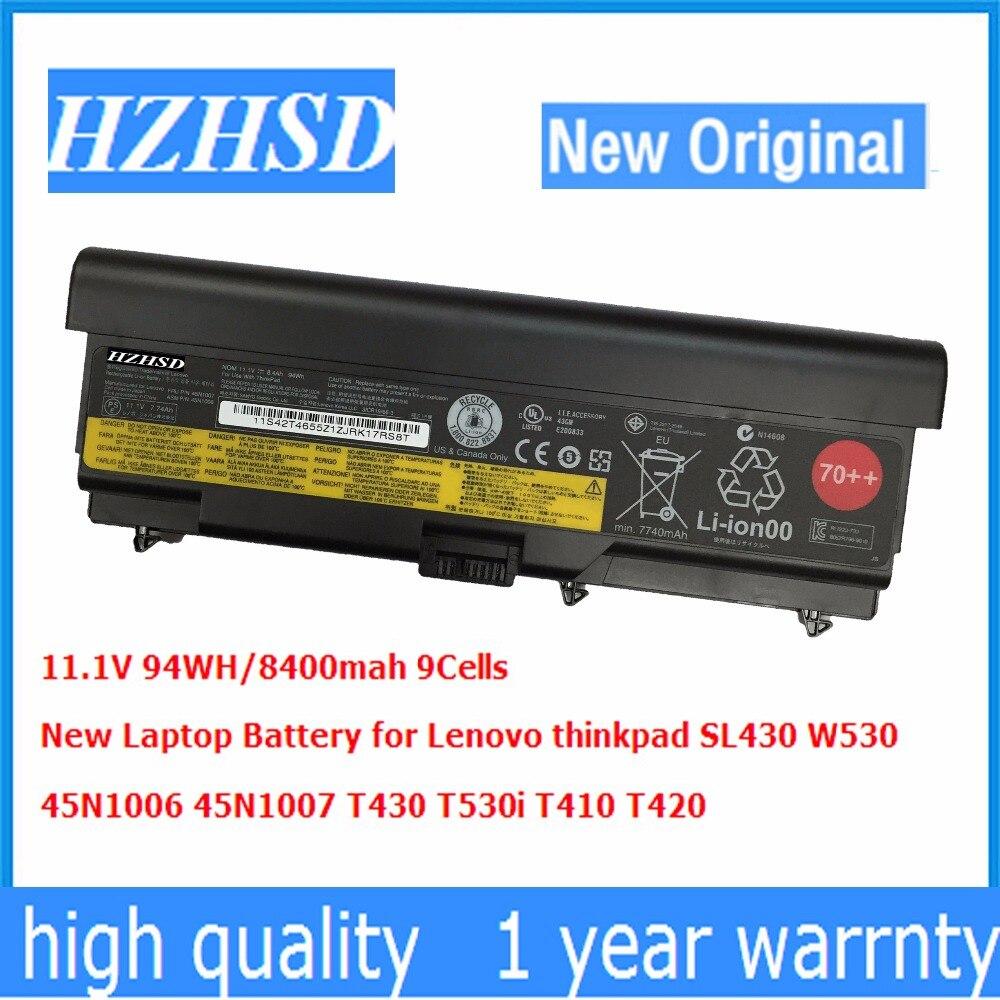 11.1 v 94wh/9 cellulaire New Original T430 Batterie D'ordinateur Portable pour Lenovo thinkpad T530 W530 T430i L430 530 SL430 T410 T420 45n1007 45n1006