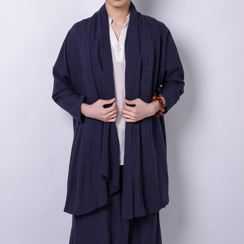 Cotton Linen Men   Trench   Coat Long Cardigan Jacket Fashion Hiphop Casual Male Long Sleeve Windbreaker Cloak Overcoat Jacket