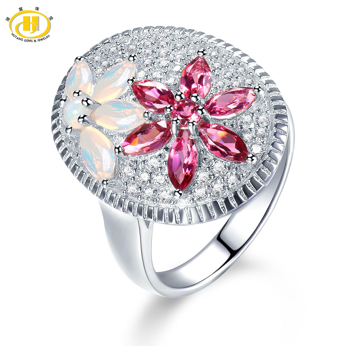 Hutang Natural Rhodolite Garnet & Opal Ring Solid 925 Sterling Silver Luxury Fine Gemstone Jewelry for Women Christmas Gift