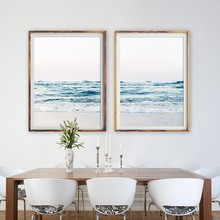 Coastal Decor Beach Photography Canvas Painting , Sea Picture Ocean Waves Canvas Prints Beach Wall Art Decor(China)