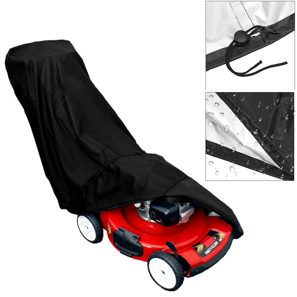 200cmx85cmx40cm/78''x33.5''x15.7''  black  lawnmower cover Riding mower grass shovel hood polyester hood(China)