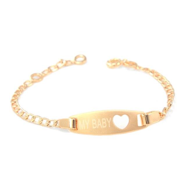 17CM Heart Kids Bracelets Baby Girl Jewelry Gold Bangle Bracelet Bebe Pulsera Br