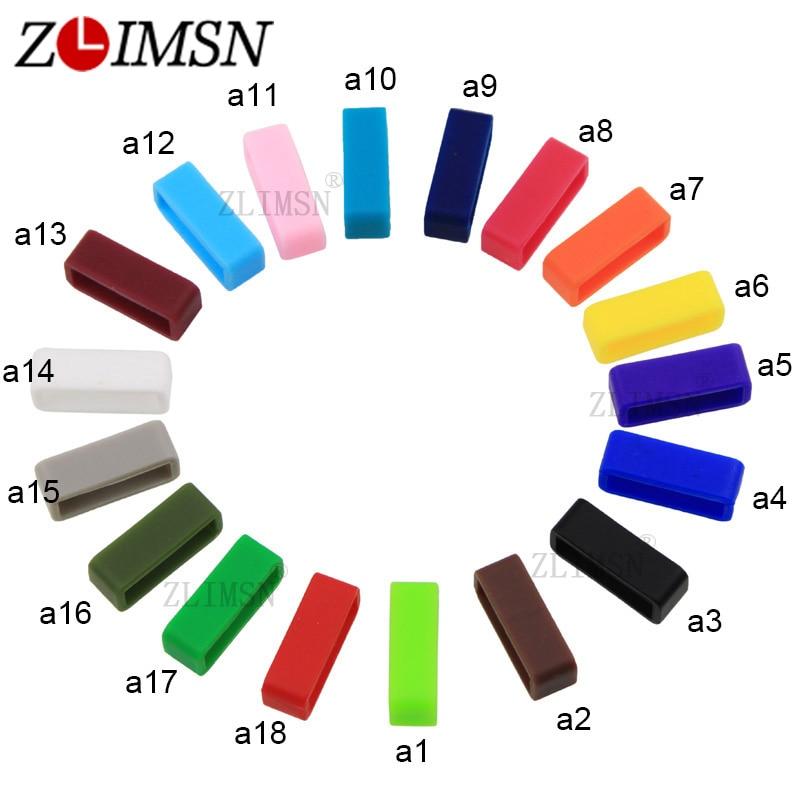ZLIMSN Black White Watchbands Strap Loop Hoop Silicone Rubber Watch Bands Accessories Holder Men Locker Watch Band 18 color 4pcs