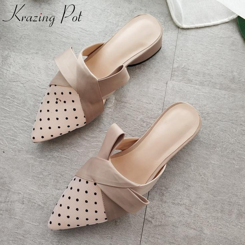 Krazing Pot new air mesh natural leather dot pattern slip on pumps pointed toe bowtie concise med heels brand leather mules L0f2 цена