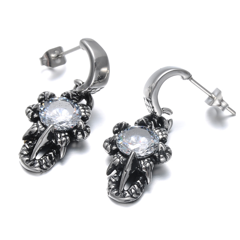 US7 1 Pair Punk Vintage Mens Pendientes 316L Stainless Steel Dragon Claws Crystal Stud Earrings For Men Jewelry