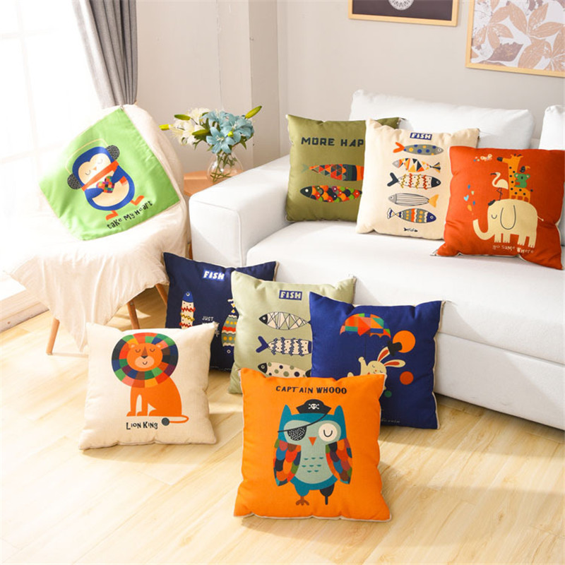 18 x 18 Inch E-Scenery Three Baby Elephants Square Decorative Throw Pillow Cases Cushion Cover for Sofa Bedroom Car Home Decor Throw Pillow Covers
