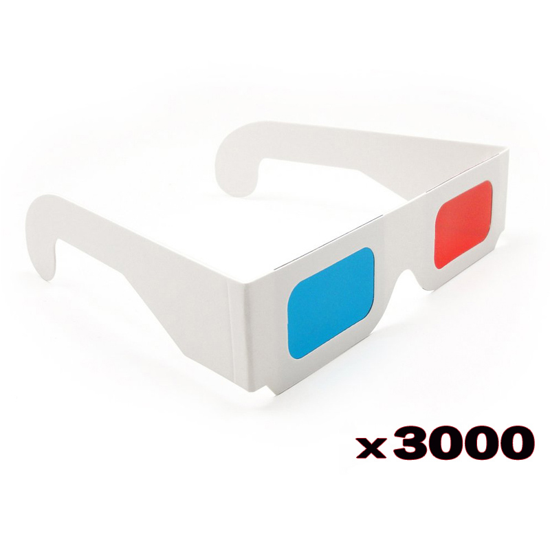 DHL 3000pcs lot Universal Paper Anaglyph 3D Glasses Paper 3D Glasses View Anaglyph Red Blue 3D