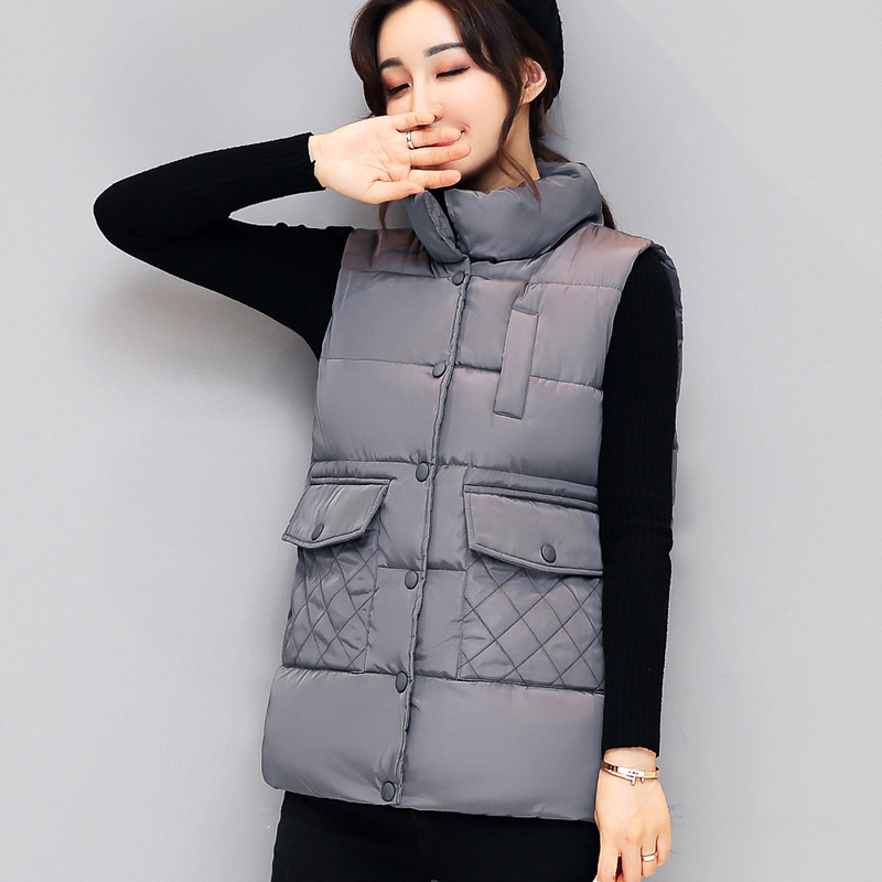 Women Vest Waistcoat 2017 Autumn Winter Short Vest Female Cotton Padded Sleeveless Jacket Womens White Black Vest Coats