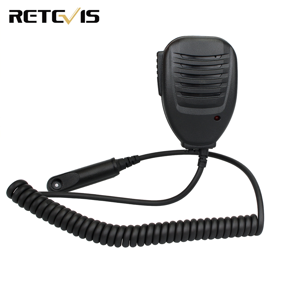 LED Speaker Microphone With 3.5mm Mono Jack For Retevis RT6 Waterproof Walkie Talkie Ham Radio J9114M