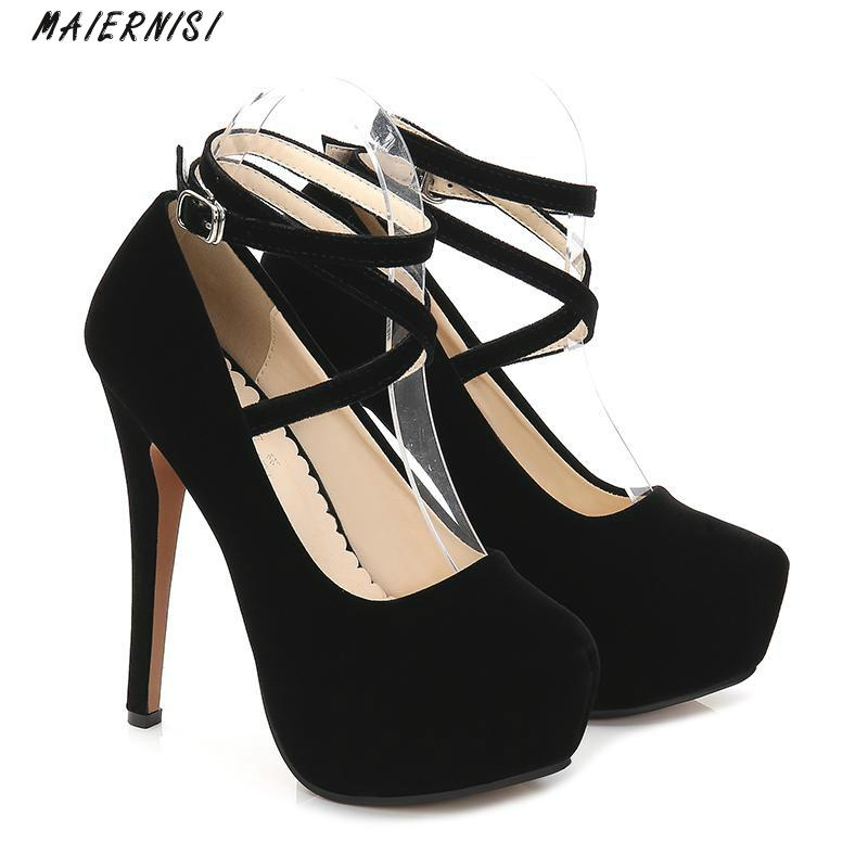 MAIERNISI Sexy High Heels Super High (14cm) Wedding Ladies Shoes Thin Heels Brand Women Shoes Cross-tied 2018 New Sexy Pumps hee grand cross tied women sandals summer sexy square high heels flock wedding shoes woman elegant pumps ladies 3 colors xwz2049
