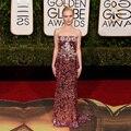 Gorgeous 2016 Golden Globe Awards lentejuelas Celebrity vestidos sin tirantes con Rhinestone Bling Bling Formal del partido vestido largo