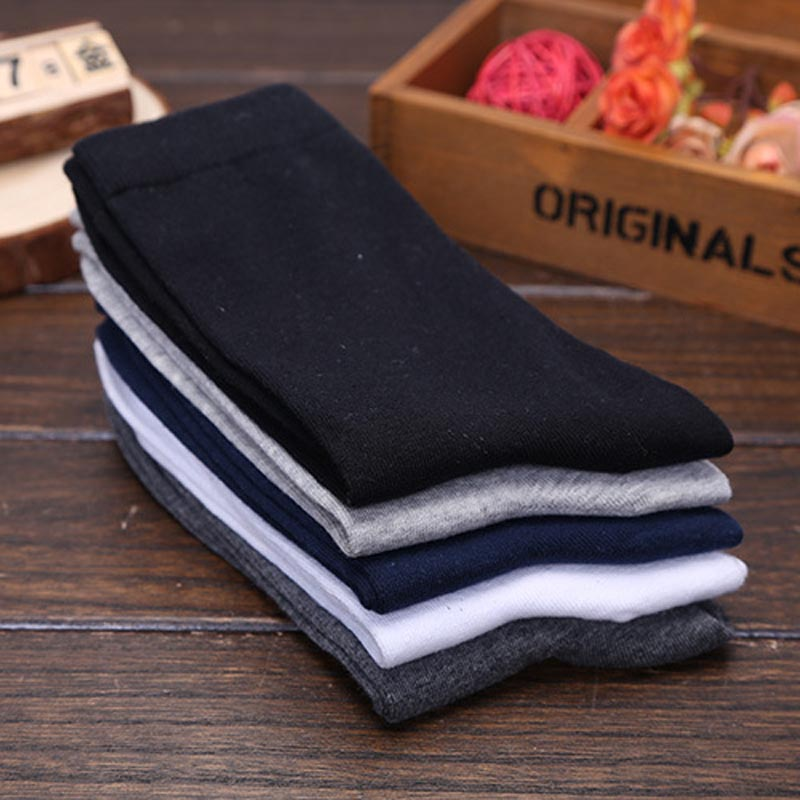 5 Pairs Mens Business Classic Style Solid color Pure Crew Quarter Dress Cotton Socks