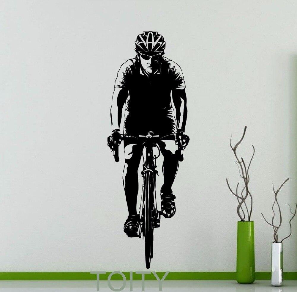 Cyclist Bicyclist Bicycle Wall <font><b>Sticker</b></font> Cycling Sport Vinyl Decal <font><b>Home</b></font> Any Room Interior <font><b>Art</b></font> Decor Dorm Studio Club <font><b>Art</b></font> <font><b>Mural</b></font>