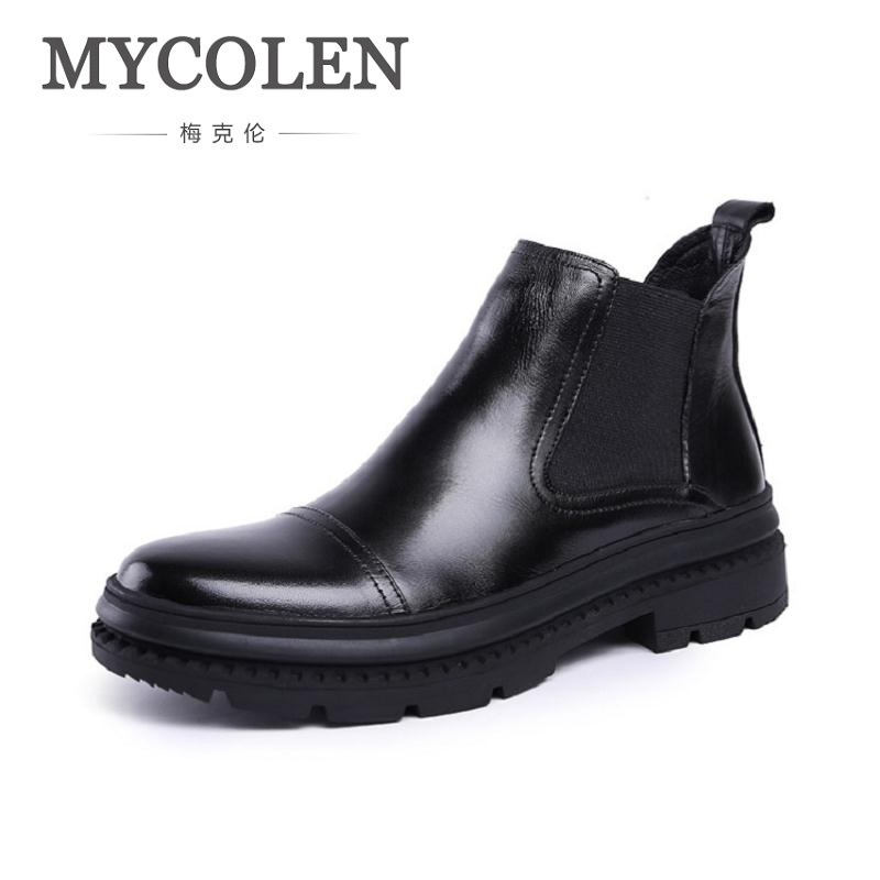 MYCOLEN 2018 Spring Fashion Casual Chelsea Boots For Men Shoes Cow Leather Slip On Outdoors Motorcycle Man Boot Schoenen Mannen 2017 new spring imported leather men s shoes white eather shoes breathable sneaker fashion men casual shoes