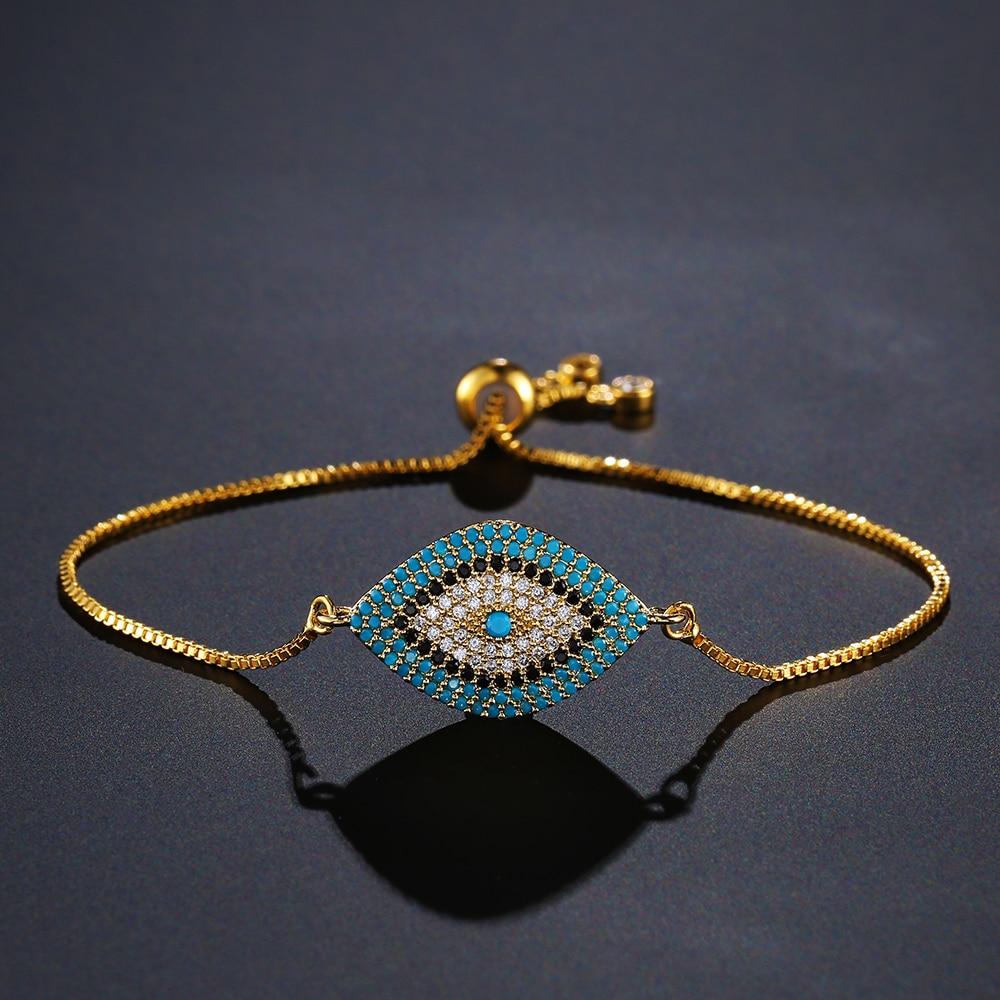 480d4397fc3 NEWBUY 2018 Trendy Turkish Gold Evil Eye Bracelet Pave CZ Blue Eye Gold Chain  Bracelet Adjustable