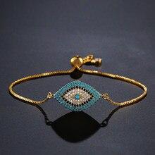 Newbuy 2021 na moda ouro turco mau olho pulseira pave cz olho azul corrente de ouro pulseira ajustável feminino festa jóias