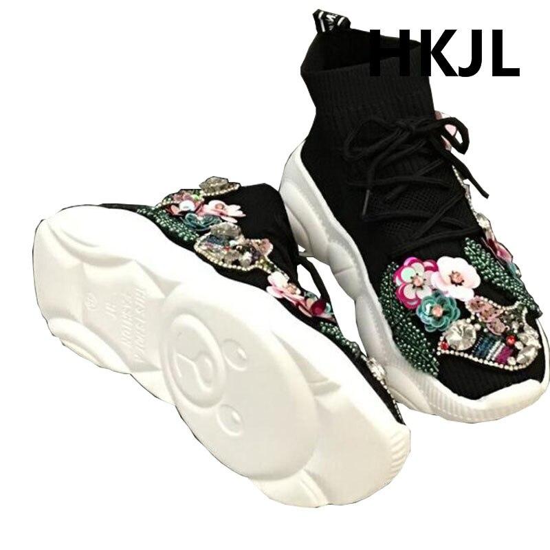 HKJL populaire logo élastique chaussettes chaussures 2019 nouveau robuste perceuse à eau de mode haut-haut chaussures joker décontracté chaussures de ville