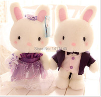 purple & pink color wedding dress rabbit doll couple wedding cake topper wedding gifts favors wedding car decoration
