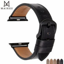 MAIKES Genuine Leather Leather For Apple Watch Bands 44mm 42mm 40mm 38mm Series 4 3 2 1 iwatch band Bracelets Apple Watch Strap