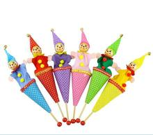 6pcs/lot baby Funny pop up puppets / Holiday Sale Lovely clown hand held stick Puppet dolls for  Kids and children  gift