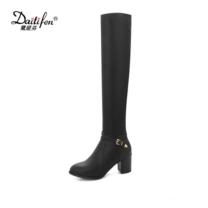 Daitifen 2017 Botas Mujer Thigh High Boots Back Zip High Heels Women Tall Boots Winter Pointed Toe Over The Knee Boots Plus 43 hot boots women sexy black thigh high boots peep toe soft leather back zip high heels over the knee boots gladiator sandal boots