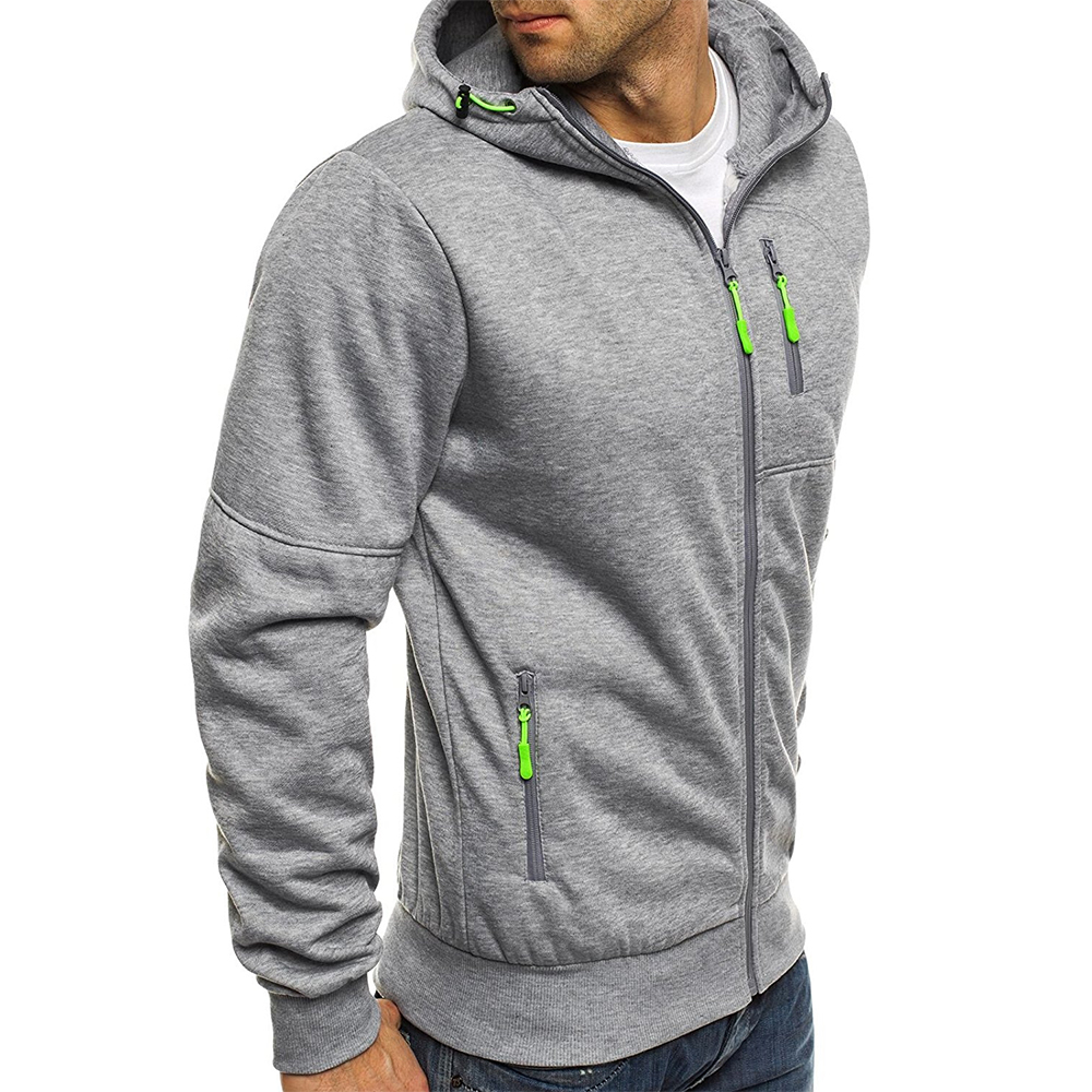 2018 nowych moda męska bluza z kapturem sportowa dorywczo sznurek jednolity kolor sweter z długimi rękawami męski zamek Szczupła duży rozmiar bluza z