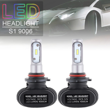 2pcs DC9-32V 9006 S1 50W 8000LM 6000K CSP LED Car Headlight Bulbs Kit Automobile Fog Lamp Hi or Lo Light Bulbs for Cars Vehicles