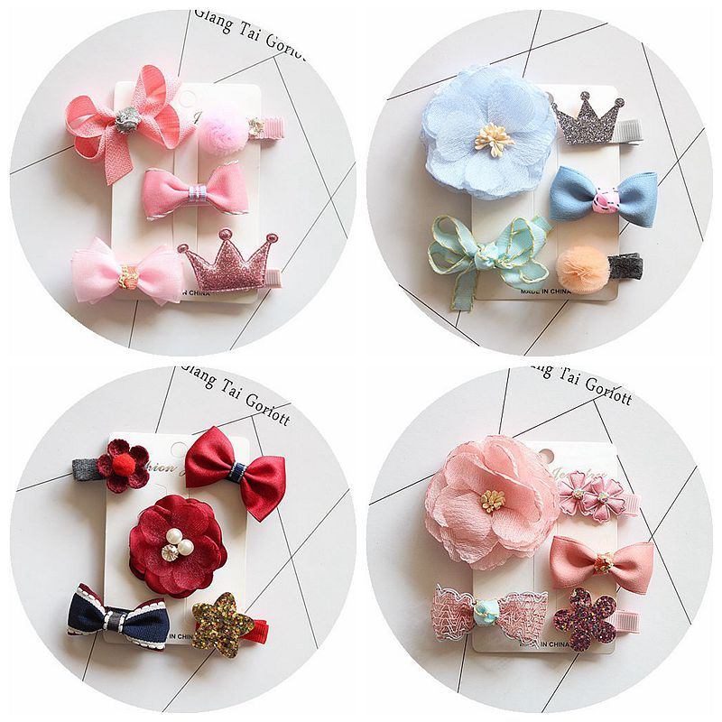 1 Set Cute Bowknot Girls Hair Clips Pin Bows Barrette Hairpin Accessories For Children Kids Hair Ornaments Hairclip Headdress 1 set new girls colorful carton hair clips small crabs hair claw clips mini hairpin kids hair ornaments claw clip