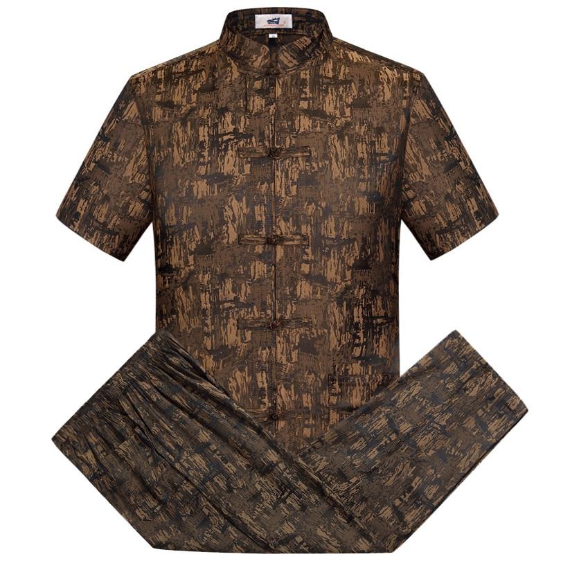 Oriental_element Chinese Style Men's Short Sleeve Dragon Kung Fu Suits Sets Shirt+Pants S M L XL XXL 3XL 062703
