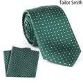 Alfaiate Smith Luxo Natural Puro Bolso Gravata de Seda Gravata Conjunto Lenço Designer Polka Dot Verde Quadrado Vestido Gravatas Dos Homens Gravata