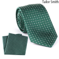 Tailor Smith Luxury Pure Natural Silk Tie Hanky Set Designer Polka Dot Green Necktie Pocket Square Mens Dress Neckwear Cravat