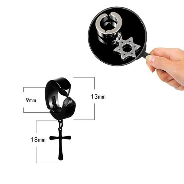 DreamBell Men Clip Earrings Hiphop Fashion Rock Style Hypoallergenic Cross Shaped Titanium Steel Ear Clip Earrings.jpg 640x640 - DreamBell Men Clip Earrings Hiphop Fashion Rock Style Hypoallergenic Cross Shaped Titanium Steel Ear Clip Earrings Accessories