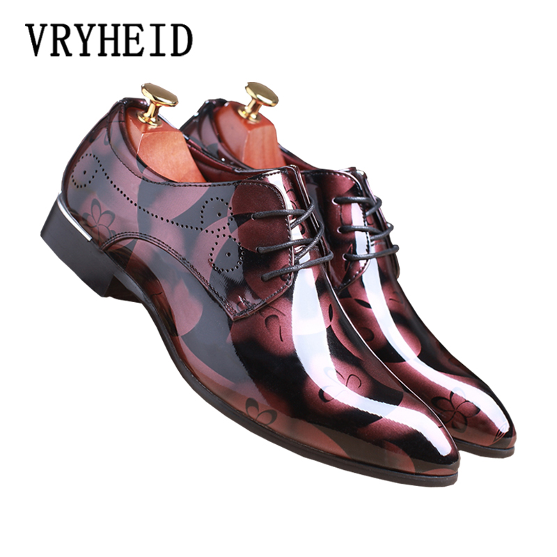 VRYHEID Men Dress Shoes Floral Pattern Big Size Men Formal Shoes Leather Luxury Fashion Oxford Shoes