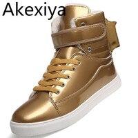 Akexiya hombres zapatos de oro de alta superior zapatos ocasionales de los hombres británicos de oro y Plata Zapatos de Los Hombres Grandes Patios 46 Botas de Invierno Zapatos de Los Estudiantes